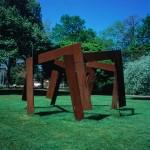 1982, Jan Goossen, Septum (In gesprek met de vorigen), cor ten steel, 5 meter doorsnede, x 270 cm hoogte. Stadswandelpark, Eindhoven. Photo Martin Stoop