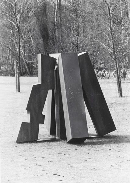 1970, Jan Goossen, Goodbye to East Jesus County, cor ten staal, hoogte 190 cm, 1984 plaatsing Dronten. Expo in 1970 in Den Helder