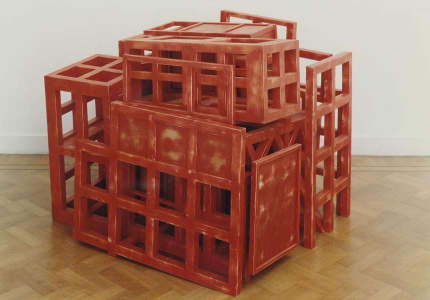 1991, Jan Goossen, Casa de los Pensamientos Encarcelados, polychromed wood. Photo Martin Stoop
