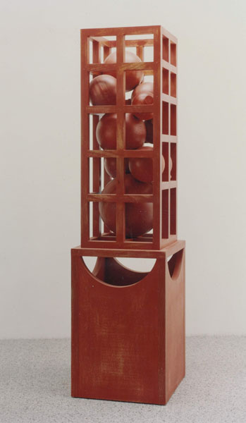 1992, Jan Goossen, Idee voor een fontein, polychromed wood 40 x 40 cm x 150 cm h. Photo Martin Stoop