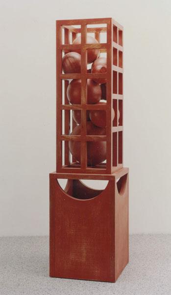 1992, Jan Goossen, 'Idee voor een fontein', polychromed wood 40 x 40 cm x 150 cm h. Photo Martin Stoop