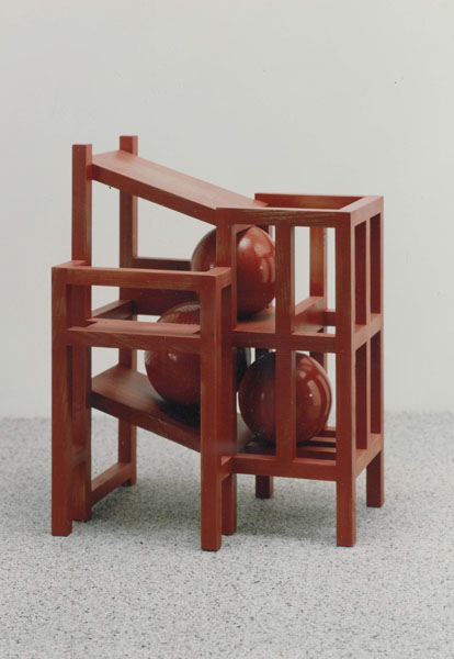1993, Jan Goossen, 'Construction with three Balls and a Balcony', polychromed wood. Private collection. Photo Martin Stoop