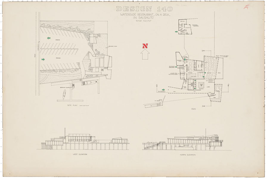 1965-1966, Jan Goossen, design, 'Waterside restaurant on a deck, in Sausalito, San Francisco 140'