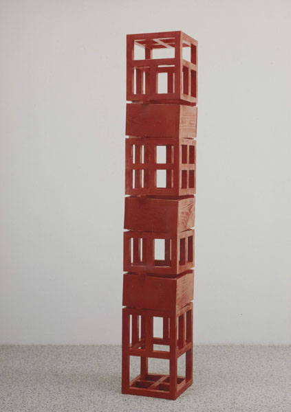 1993, Jan Goossen, Heartshaker (Balancing Domestic Bliss), polychromed wood, 30 x 30 cm x 153 cm h. Photo Martin Stoop