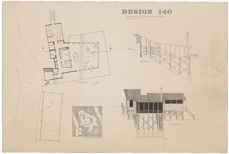 1965-1966, Jan Goossen, design, 'Ski-House for five couples, Squaw valley, San Francisco 140'