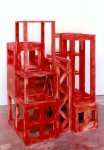 1993, Jan Goossen, Red Volume Rising, polychromed wood, 102 x 85 x h 143 cm, Photo Martin Stoop
