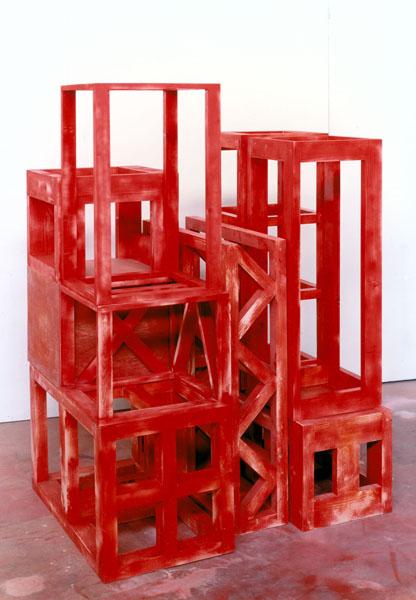 1993, Jan Goossen, 'Red Volume Rising', polychromed wood, 102 x 85 x h 143 cm, Photo Martin Stoop