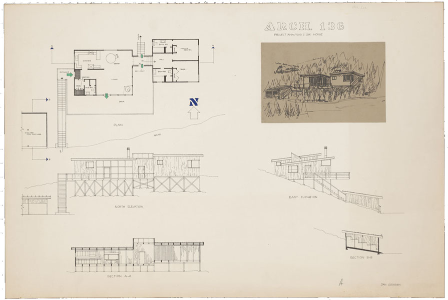 1965-1966, Jan Goossen, design, 'Ski House, San Francisco 136'