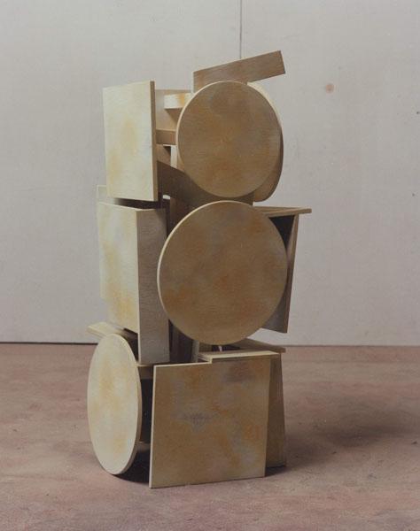 1995, Jan Goossen, 'Bearer I', polychromed wood, h 71 cm. Photo Martin Stoop