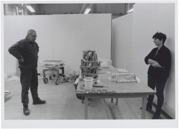1995, Jan Goossen (links) en Yvette Lardinois (rechts). Werkperiode EKWC, Den Bosch. Photo Els van den Boorn