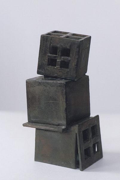 2001, Jan Goossen, 'Stapeling', bronze, 7 cm x 9 cm x 20 cm h