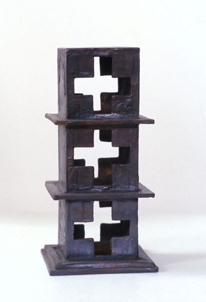 2001, Jan Goossen, Stapeling, bronze, 11 cm x 11 cm x h 20 cm
