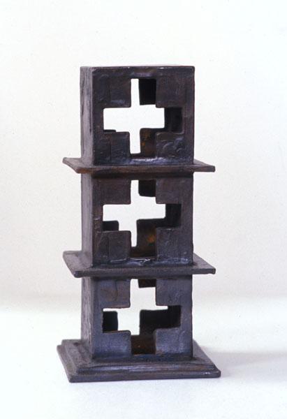 2001, Jan Goossen, 'Stapeling', bronze, 11 cm x 11 cm x h 20 cm
